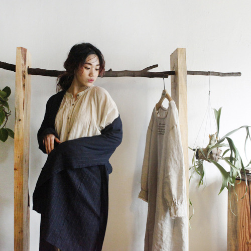 Linen stripe robe - navy