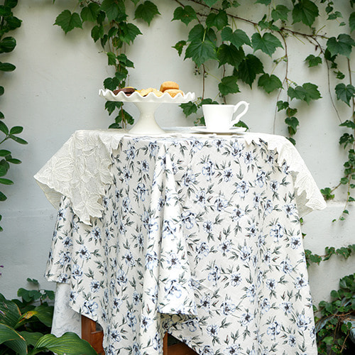 Flower linen tablecloth