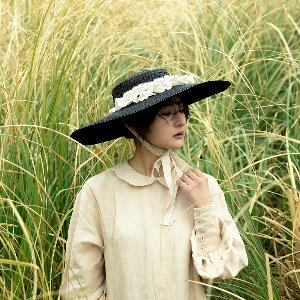 Linen pleats boater hat [2colors]