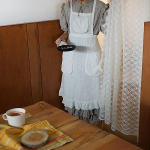 Feather linen apron