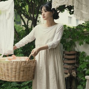 Aaron linen dress - oatmeal