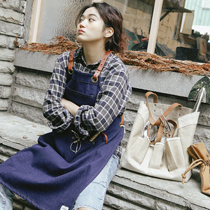 Cross leather strap denim apron
